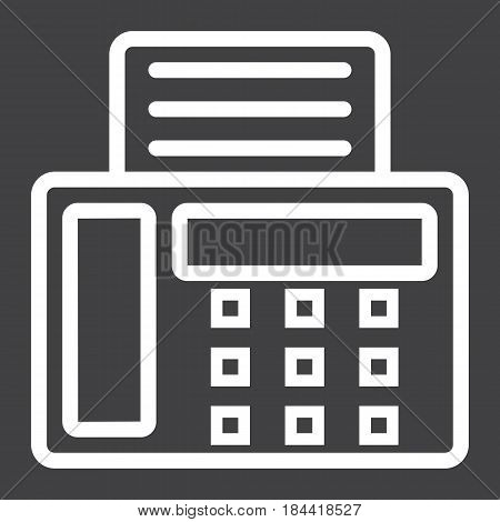 Fax line icon, Contact us and website button, vector graphics, a linear pattern on a black background, eps 10.