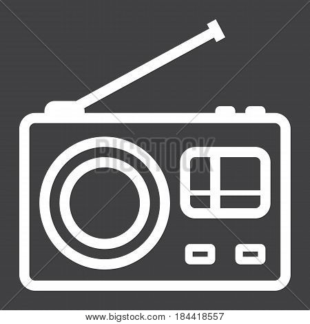 Radio line icon, communication and website button, vector graphics, a linear pattern on a black background, eps 10.