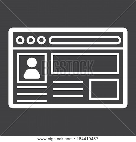 Account line icon, social media and website button, vector graphics, a linear pattern on a black background, eps 10.