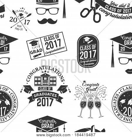 Set of Vector Class of 2017 badges seamless pattern with grunge effect. Typography design- stock vector.