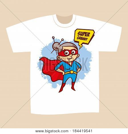 T-shirt Print Design Superhero Granny Sticker Vector Illustration
