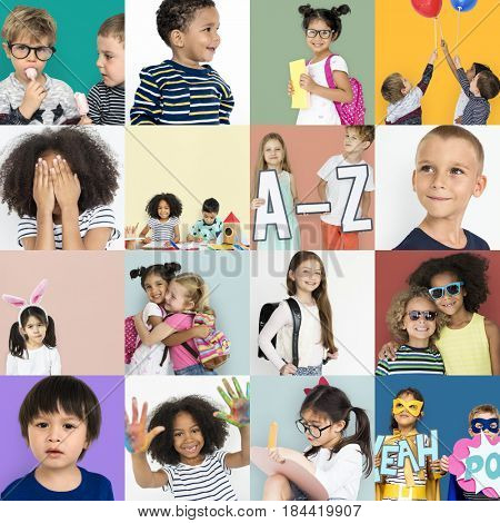 Diversity kids collage collection adorable happiness