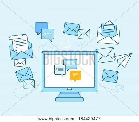 Email Marketing Concept - Computer With Mailing App
