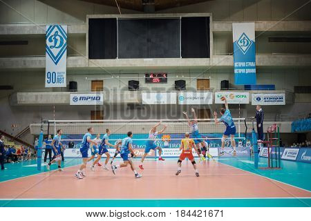 MOSCOW - NOV 5, 2016: Volleyball game Dynamo (Moscow) and Ural (Ufa) in Palace of Sports Dynamo