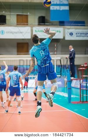 MOSCOW - NOV 5, 2016: Athlete jumps at volleyball game Dynamo (Moscow) and Ural (Ufa) in Palace of Sports Dynamo