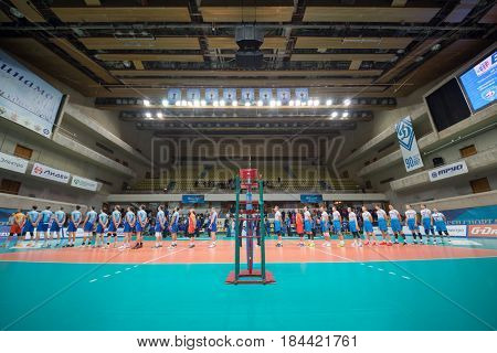 MOSCOW - NOV 5, 2016: Two teams wait volleyball game Dynamo (Moscow) and Ural (Ufa) in Palace of Sports Dynamo