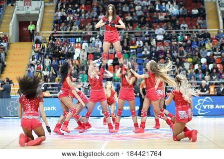 MOSCOW - JAN 27, 2017: Girls dance during Basketball match CSKA (Moscow) - Anadolu Efes (Istanbul) in Megasport stadium