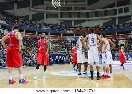 MOSCOW - JAN 27, 2017: Break during basketball game CSKA (Moscow) - Anadolu Efes (Istanbul) in Megasport stadium