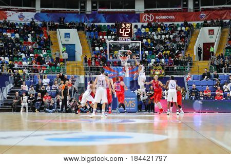 MOSCOW - JAN 27, 2017: Basketball game CSKA (Moscow) - Anadolu Efes (Istanbul) in Megasport stadium