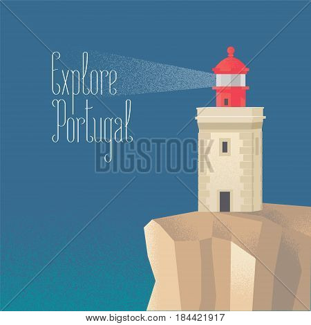 Lighthouse at the Atlantic ocean vector illustration. Visit Portugal concept image