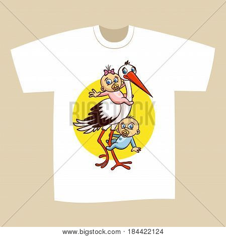 T-shirt Print Design Stork with Babies Vector Illustration