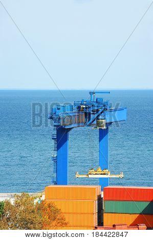 Port Cargo Crane And Container