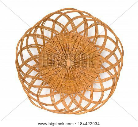 Wicker Basket, Breadbasket, Bread-plate, Dish For Food Or Fruits Isolated On A White Background. Top