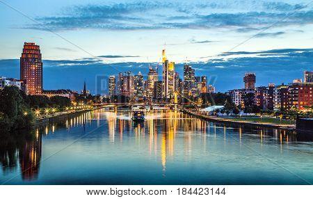 Beautiful view of Frankfurt am Main skyline at dusk, Hessen, Germany.