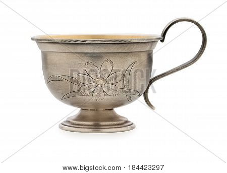 Vintage Silverware, Very Old Rich Decorated Metal Cup For Coffee  Isolated On A White Background, Cl