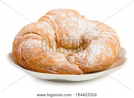 Fresh Croissant On A Saucer Isolated On A White Background, Close Up.