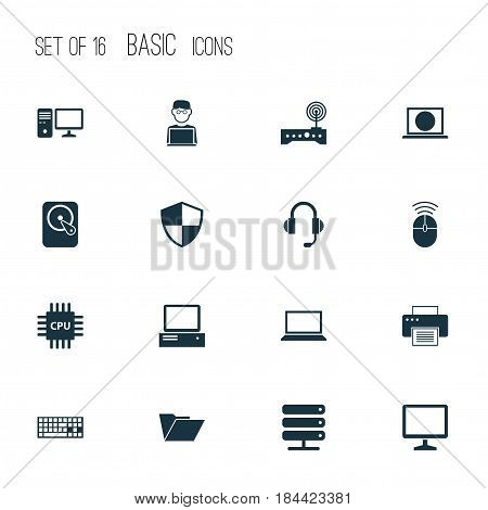 Laptop Icons Set. Collection Of Monitor, Printing Machine, Defense And Other Elements. Also Includes Symbols Such As Hard, Internet, Machine.