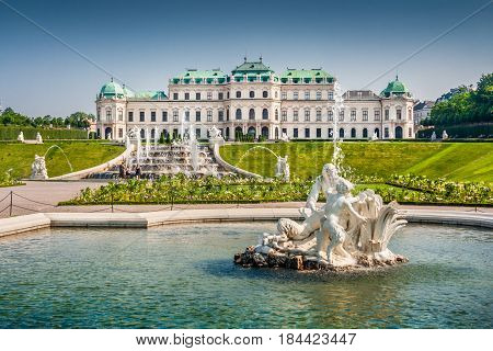 Beautiful View Of Famous Schloss Belvedere, Built By Johann Lukas Von Hildebrandt As A Summer Reside