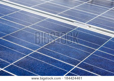 Closeup of solar panel and polycrystalline photovoltaic cells