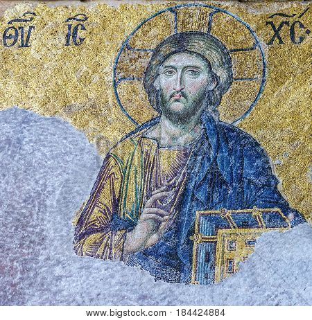 Istanbul, Turkey - May 4, 2017: Christian mosaic icon of Jesus Christ in Cathedral mosque Hagia Sofia in Istanbul