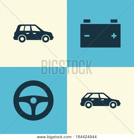 Car Icons Set. Collection Of Accumulator, Hatchback, Car And Other Elements. Also Includes Symbols Such As Battery, Control, Hatchback.