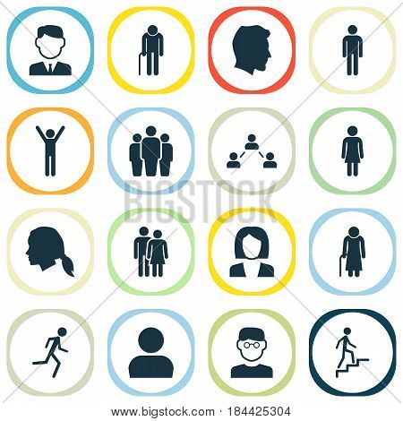 People Icons Set. Collection Of Ladder, Gentlewoman Head, Businesswoman And Other Elements. Also Includes Symbols Such As Group, Relation, Scientist.