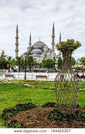 Istanbul, Turkey - May 2, 2017: Blue mosque Sultanahmet  in Istanbul, Turkey
