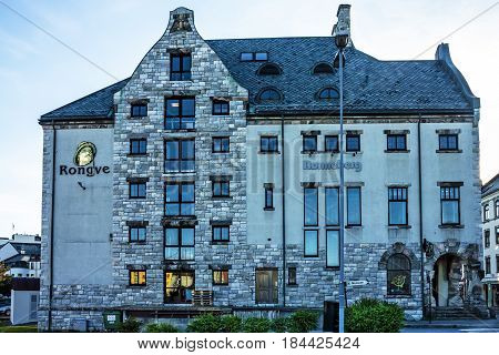 Alesund, Norway - May 1, 2017: Art nouveau stile building in Alesund, Norway.