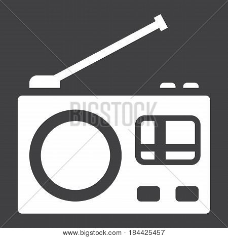 Radio solid icon, communication and website button, vector graphics, a filled pattern on a black background, eps 10.