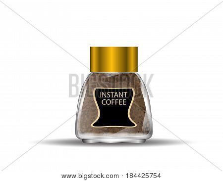 Coffee Glass Jar with Instant Coffee Granules Isolated on White Background. Vector Illustration.