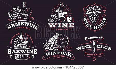 Wine set logo - vector illustrations, emblems design on dark background