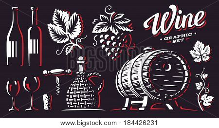 Wine, set vector illustrations, design on dark background