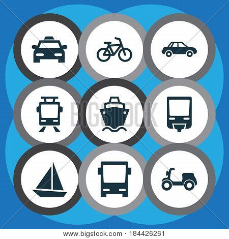 Transportation Icons Set. Collection Of Yacht, Bicycle, Cab And Other Elements. Also Includes Symbols Such As Automobile, Sail, Railroad.