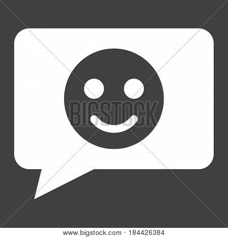 Comment with smile solid icon, feedback and website button, vector graphics, a filled pattern on a black background, eps 10.