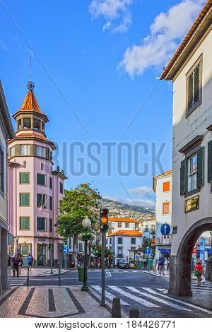 Funchal, Portugal - May 3, 2017: Funchal street, Madeira island, Portugal