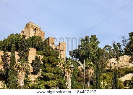 Malaga. Spain Alcazaba fortress ruins. Andalusian architecture
