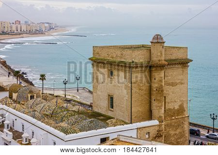 Cadiz seafront town panoramic view, Spain architecture