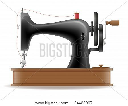 sewing machine old retro vintage icon stock vector illustration isolated on white background