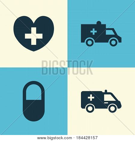 Medicine Icons Set. Collection Of First-Aid, Heal, Pellet And Other Elements. Also Includes Symbols Such As Pill, Bus, Heal.