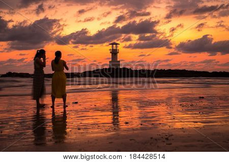 Sunset on the sea at Khao Lak