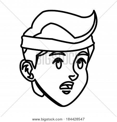 head boy young sport headband line vector illustration