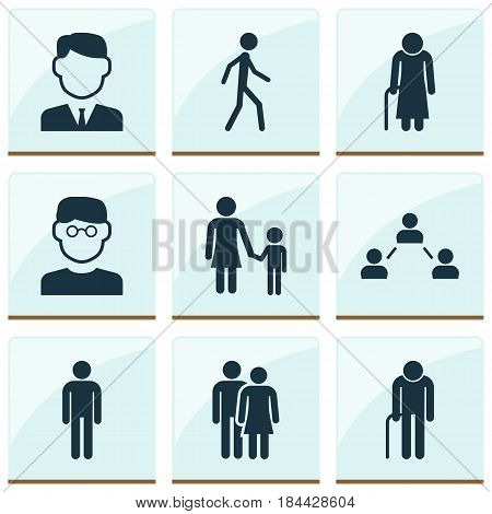 Person Icons Set. Collection Of Scientist, Work Man, Family And Other Elements. Also Includes Symbols Such As Smart, Mister, Walking.