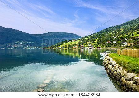Norway lanscape. Norwegian fjords village Olden in summer