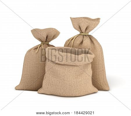 3d rendering of two tied canvas sacks and open sack in front view isolated on white background. Buying in bulk. Dry goods. Cargo and delivery.
