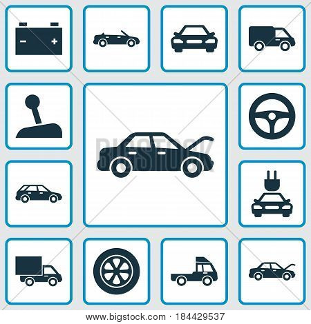 Automobile Icons Set. Collection Of Plug, Truck, Hatchback And Other Elements. Also Includes Symbols Such As Truck, Tire, Automobile.