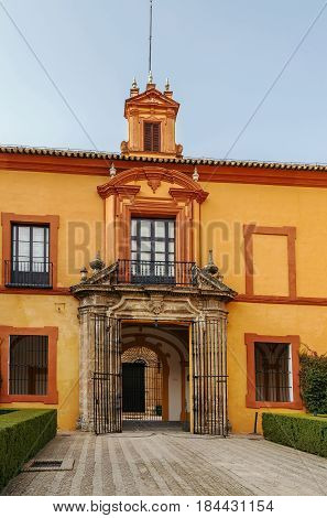 Gate in palace in Alcazar of Seville Spain