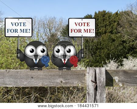 Left and right wing politicians vying for your vote perched on a countryside fence