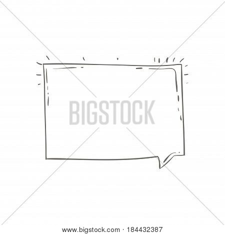 gray hand drawn rectangular speech vector illustration