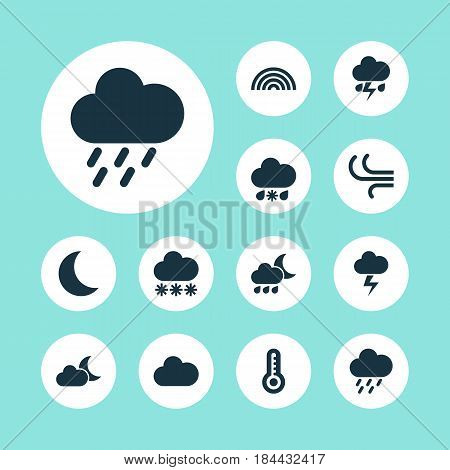 Weather Icons Set. Collection Of Wet, Cloudy, Flash And Other Elements. Also Includes Symbols Such As Cloudy, Flash, Rainbow.
