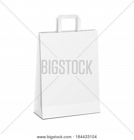 Carrier Paper Bag White. Illustration Isolated On White Background. Mock Up Template Ready For Your Design. Product Packing Vector EPS10